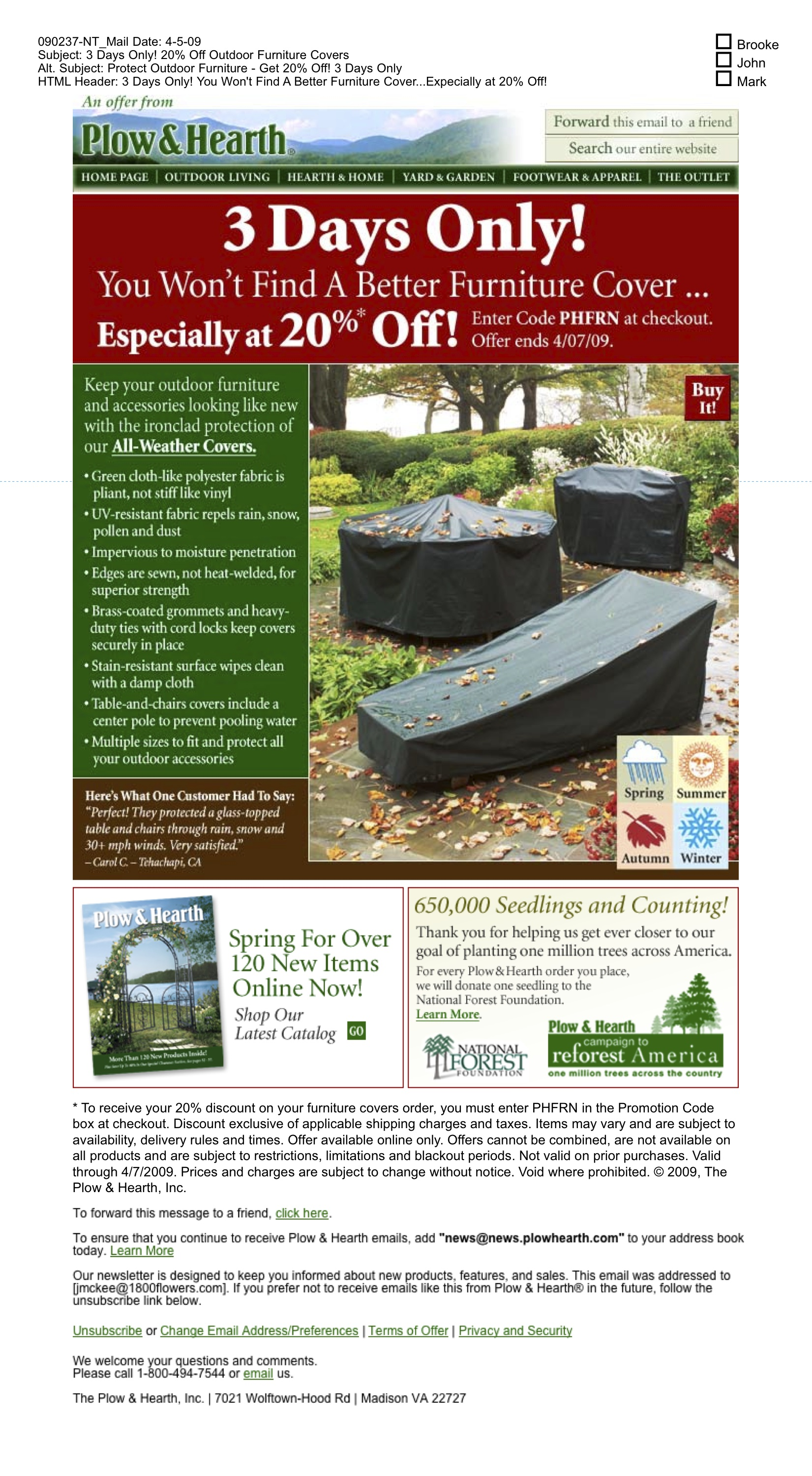 Plow Hearth Catalog Outdoor Furniture Covers Email By Holly Ford